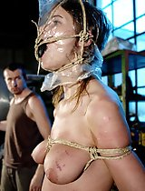Brutal plastic masked head Amy was tortured cruel.