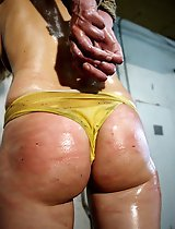 Shiny oiled body of Lola were waiting for the whipping attack.