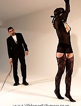 Blindfolded for harsh whipping