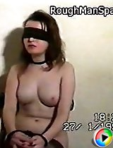 Sweet young blonde with a big soft rack gets blindfolded and spanked hard
